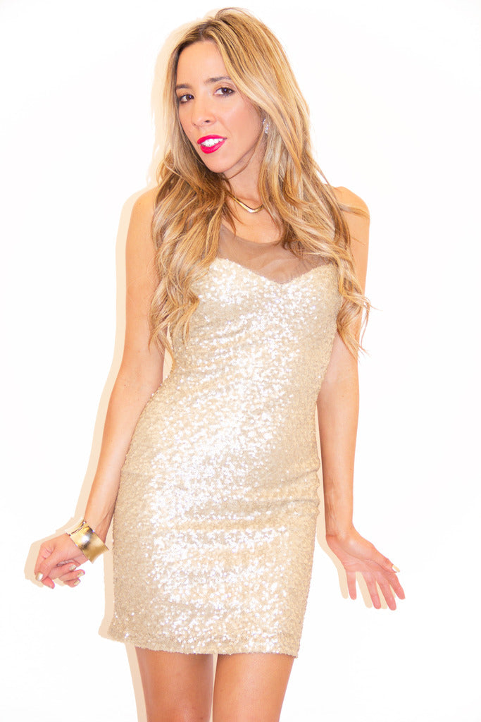 STELLA SEQUIN/ MESH DRESS - Gold