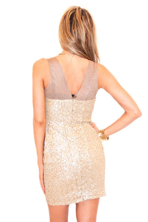 STELLA SEQUIN/ MESH DRESS - Gold - Haute & Rebellious