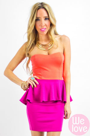 NALA NEON TWO-TONE STRAPLESS DRESS - Haute & Rebellious