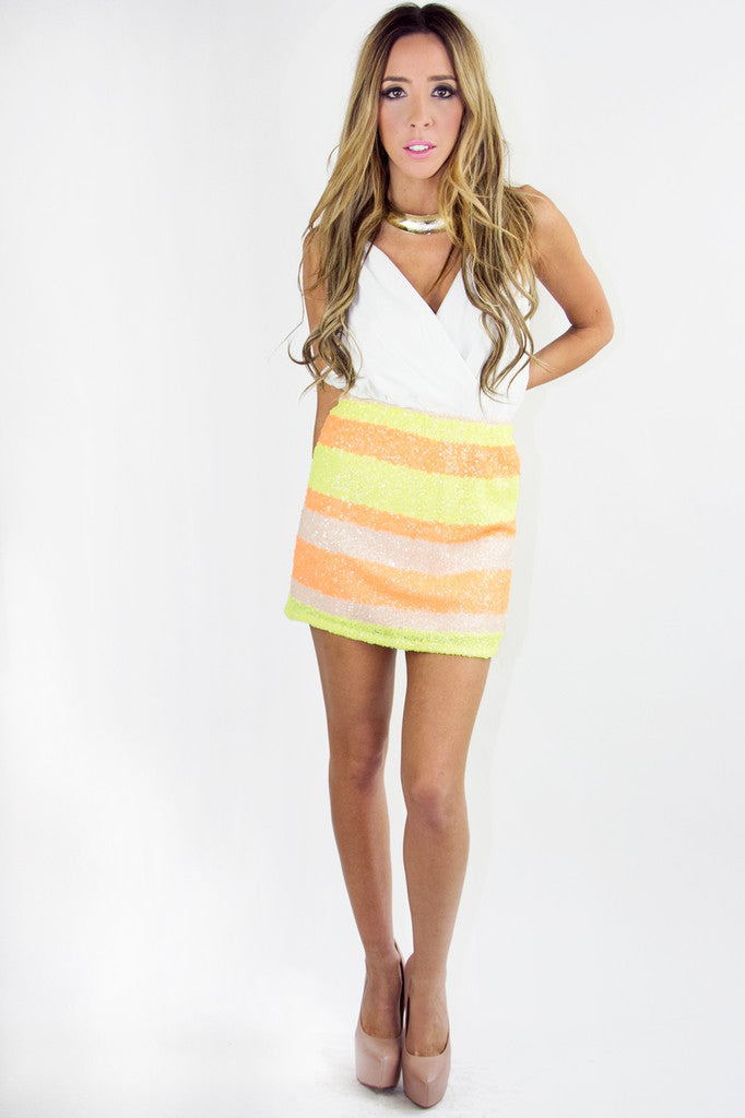 STRIPE NEON SEQUIN SKIRT (Final Sale)