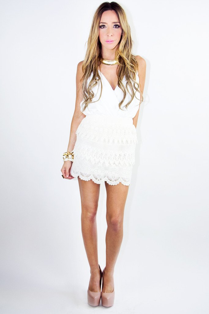 LACE SKIRT - Beige