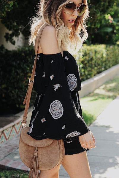 Print Dress with Bell-Sleeves - Black
