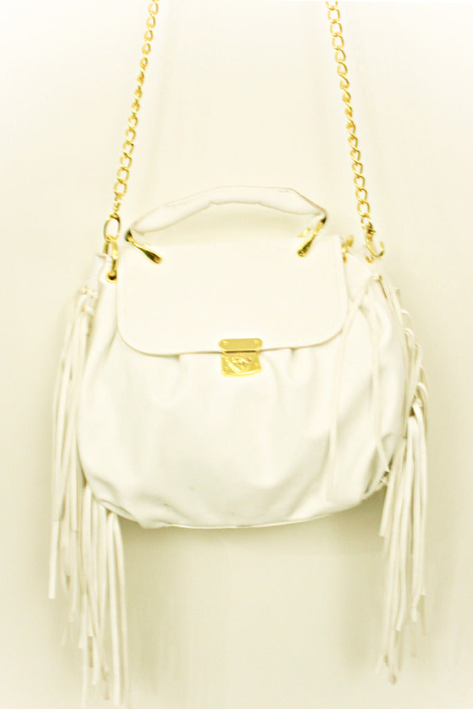 WHITE FRINGED BAG