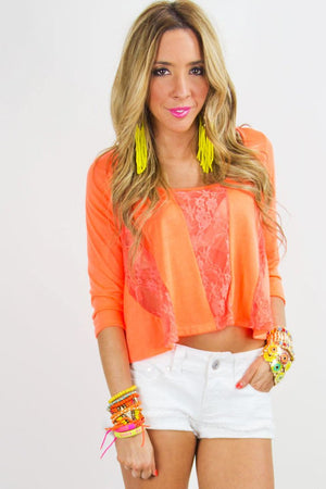 CROPPED TOP WITH LACE CONTRAST - Neon Orange - Haute & Rebellious