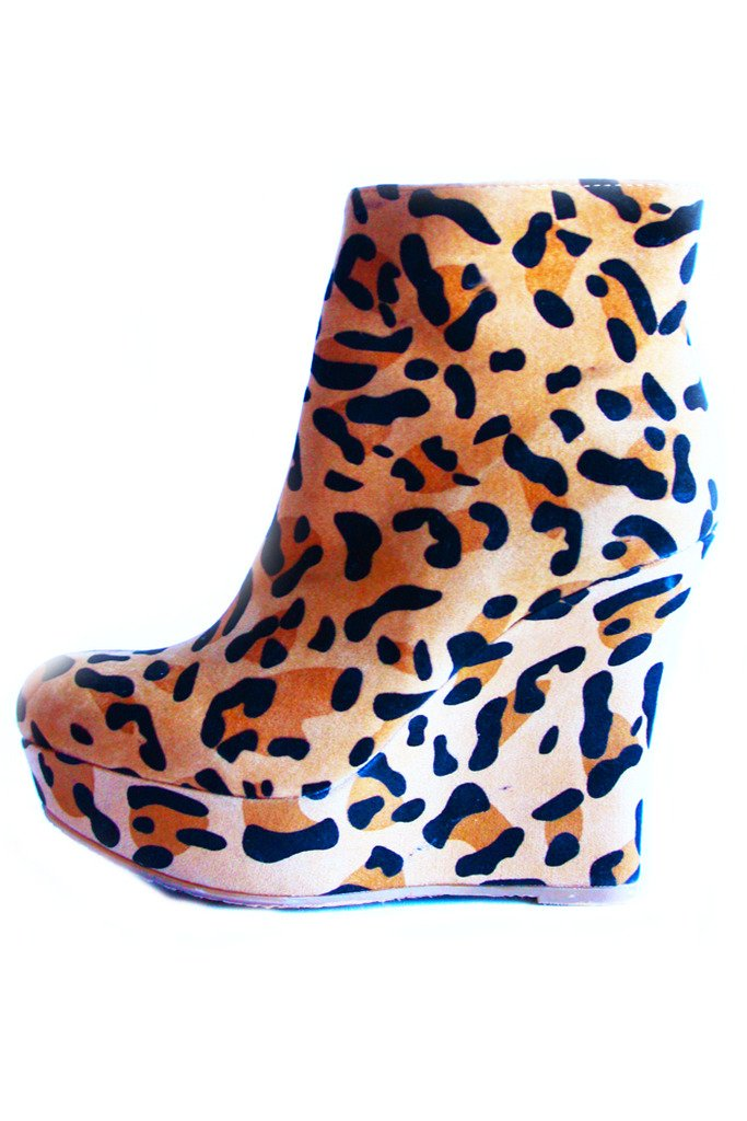 LEOPARD BOOT WEDGES