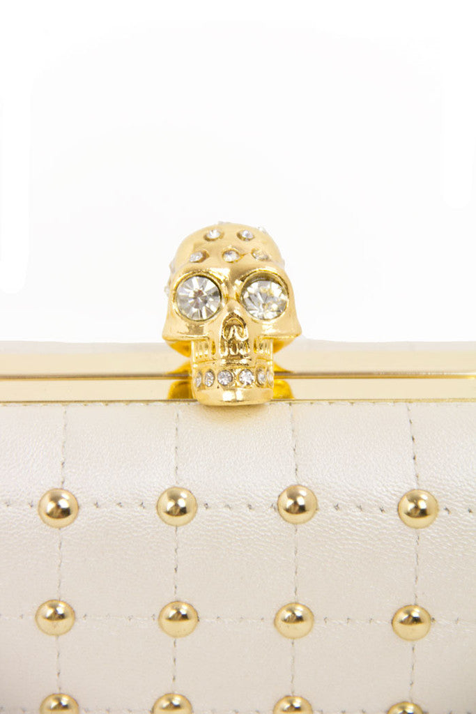 STUDDED SKULL HARD CLUTCH - White/Gold