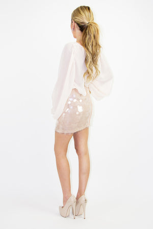 OVERSIZED SEQUIN SKIRT - Beige - Haute & Rebellious