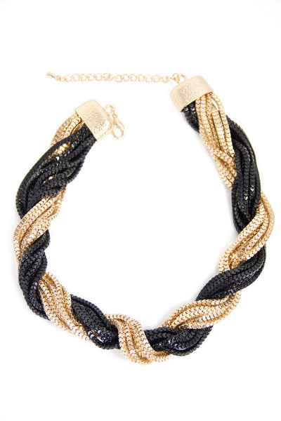 GOLD & BLACK MULTIPLE CHAIN NECKLACE