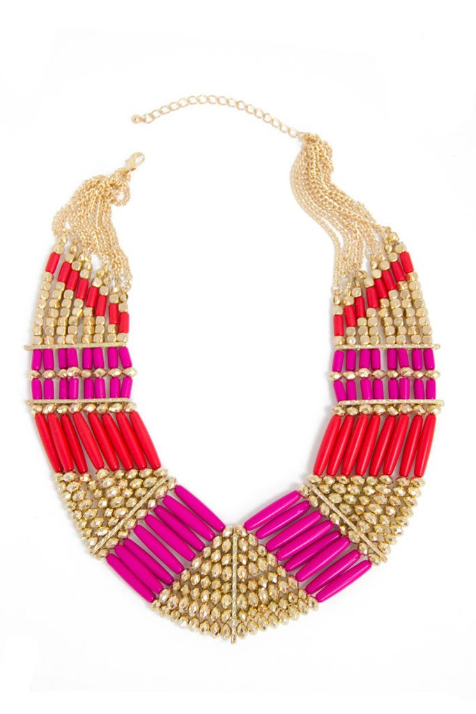 BEADED NECKLACE - Orange/Fuchsia