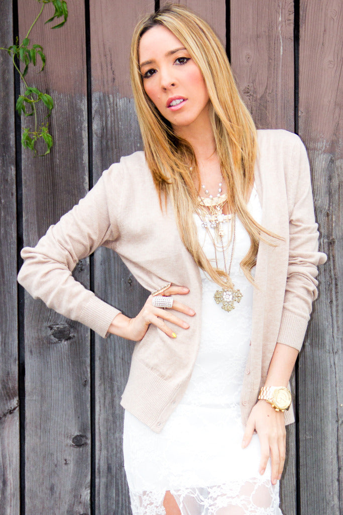 SCHOLAR BUTTON-UP CARDIGAN - Beige