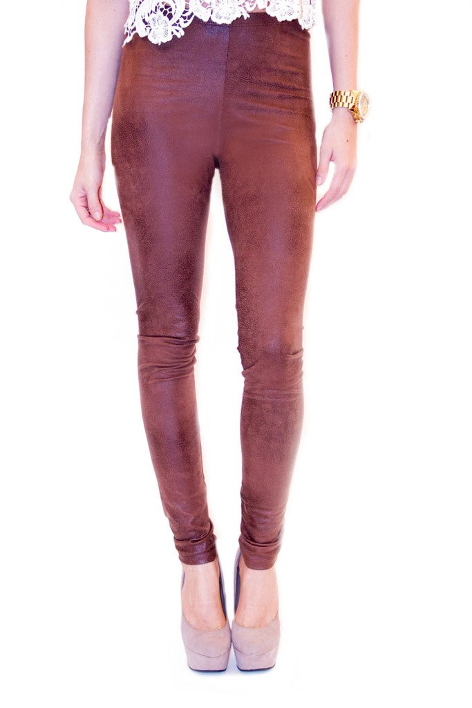 FAUX LEATHER LEGGINS- Suede Brown - Haute & Rebellious