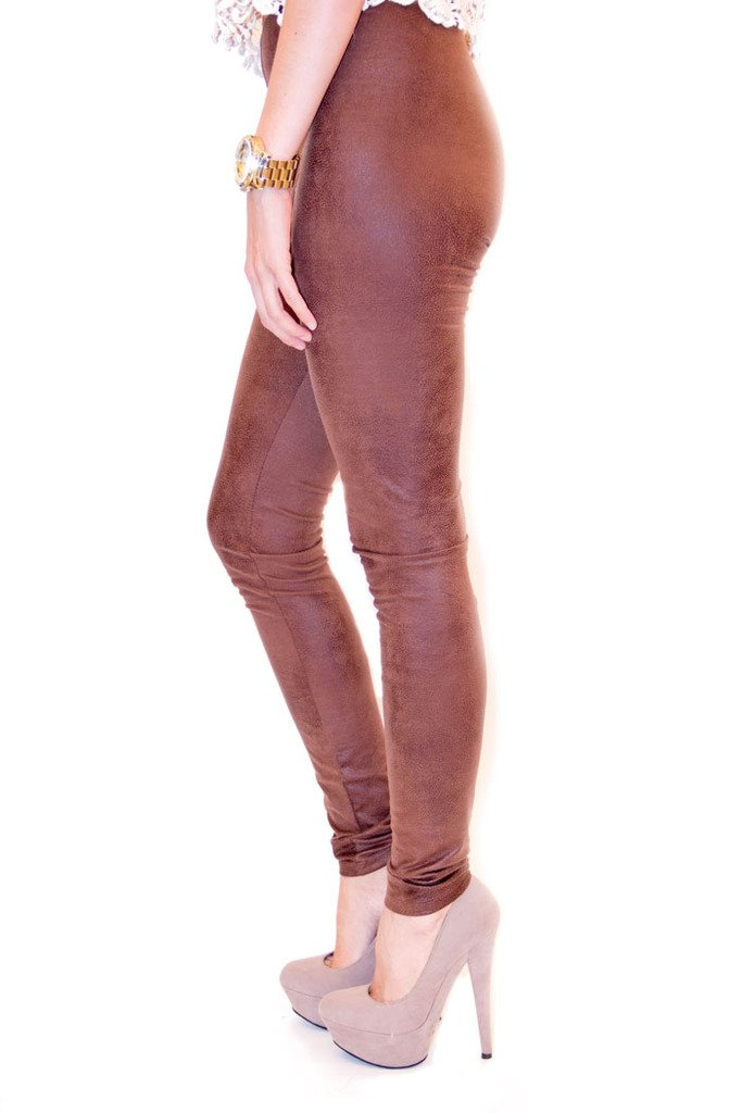 FAUX LEATHER LEGGINS- Suede Brown