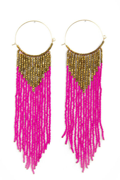 FRINGE EARRINGS - Fuchsia - Haute & Rebellious