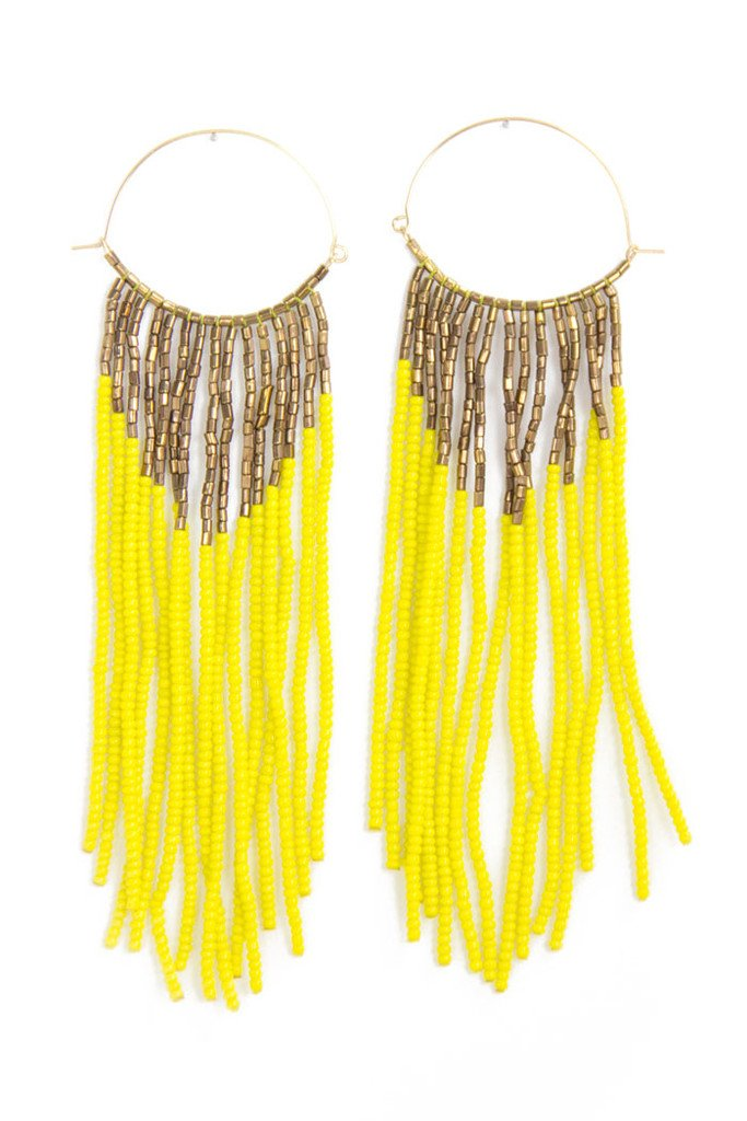 BEADED FRINGE EARRINGS - Yellow