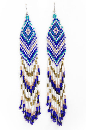 NATIVA FRINGE EARRINGS - Royal Blue - Haute & Rebellious