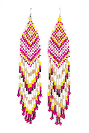 NATIVA FRINGE EARRINGS - Fuchsia - Haute & Rebellious