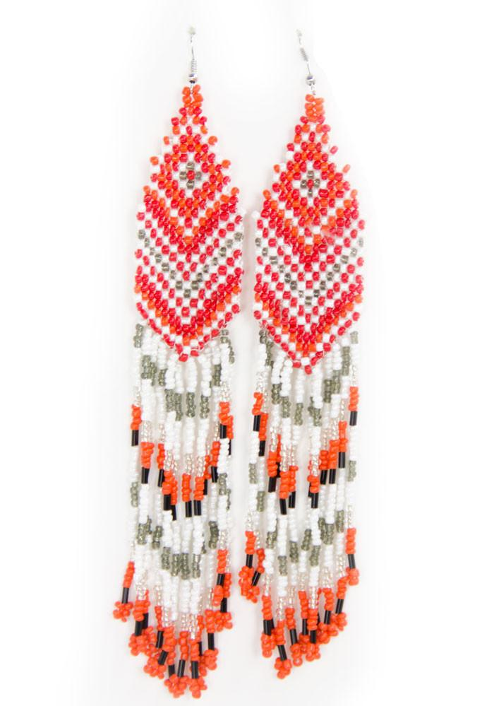 NATIVA FRINGE EARRINGS - Orange