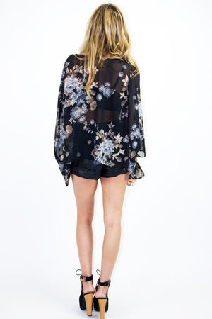 FLOWER CHIFFON CARDIGAN - Haute & Rebellious
