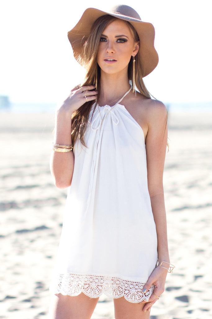 Gillian Halter Dress - White