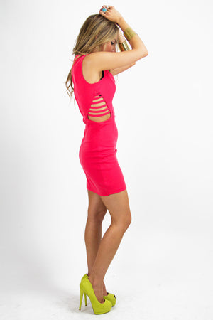 Haute & Rebellious VAL SIDE RIB CUTOUT DRESS - Red in [option2]