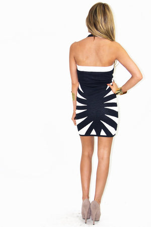 ELISA STAR BODYCON DRESS - Black/White - Haute & Rebellious