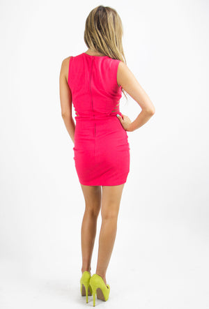 VAL SIDE RIB CUTOUT DRESS - Red - Haute & Rebellious