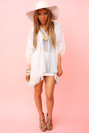 FRINGED LACE CARDIGAN - Haute & Rebellious