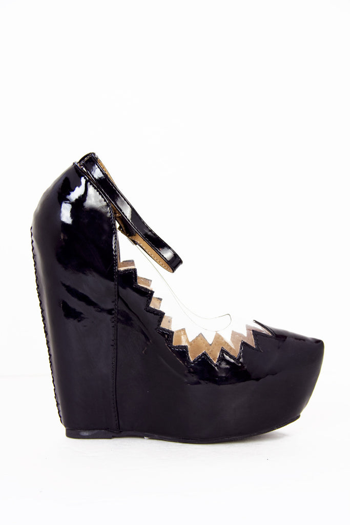 ZIG-ZAG CONTRAST CLEAR WEDGE - Black