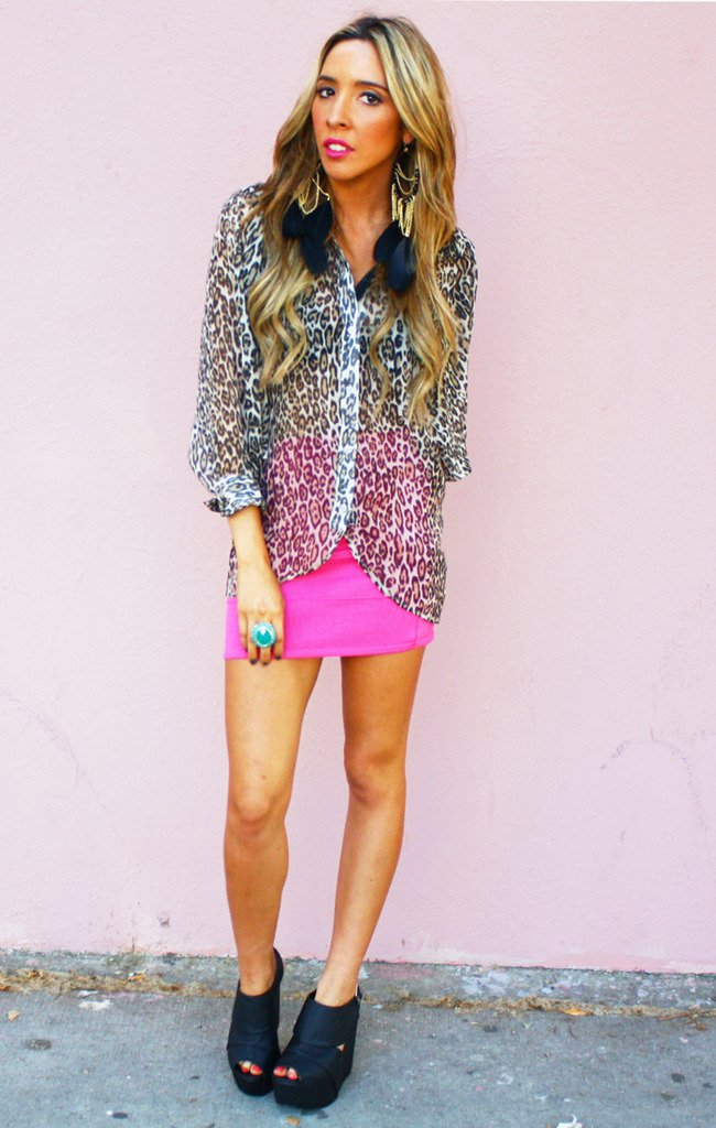 LEOPARD BAT SLEEVE BLOUSE
