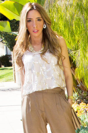 CROPPED SEQUIN BEIGE TOP - Haute & Rebellious