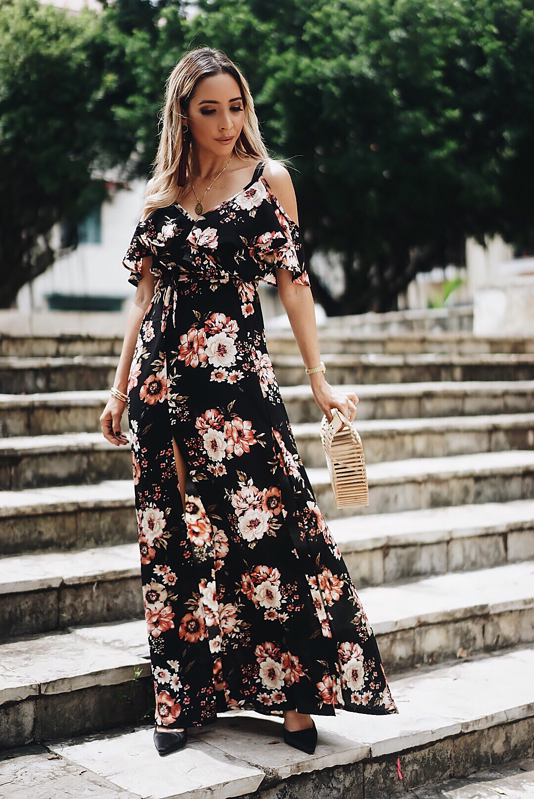 Floral Ruffle Off-Shoulder Maxi