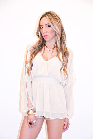 SHOULDER CUTOUT BLOUSE - Cream - Haute & Rebellious