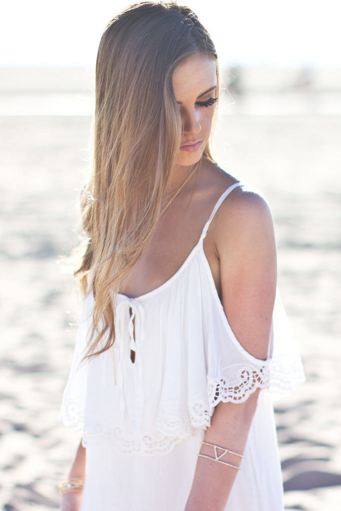 OFF SHOULDER EMBROIDERED DRESS - WHITE