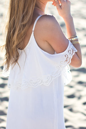 OFF SHOULDER EMBROIDERED DRESS - WHITE - Haute & Rebellious