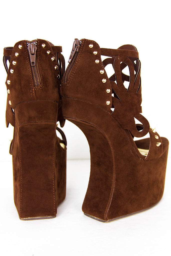 STUDDED CUT-OUT STRAP HEELLESS - Brown Suede