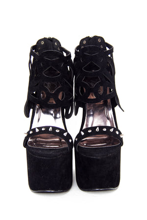 STUDDED CUT-OUT STRAP HEELLESS - Black Suede - Haute & Rebellious