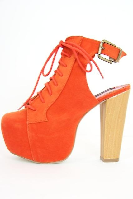 INGRID PLATFORM BOOTS - electric orange