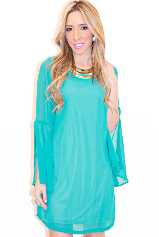 BELL SLEEVE DRESS - Turquoise