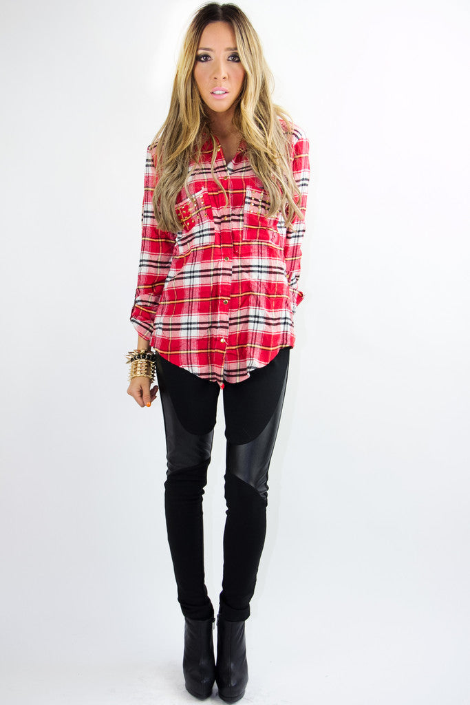 STUDDED PLAID SHIRT - Red Print