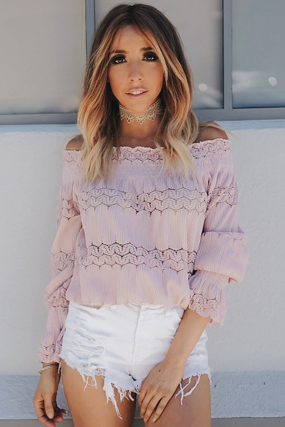This Girl Lace Detail Off Shoulder Top - Blush /// Only 1-M Left ///