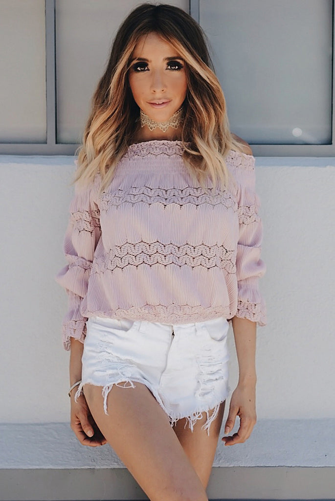 This Girl Lace Detail Off Shoulder Top - Blush
