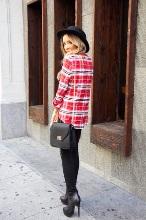 STUDDED PLAID SHIRT - Red Print - Haute & Rebellious