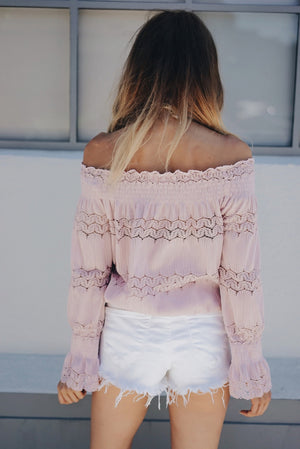 This Girl Lace Detail Off Shoulder Top - Blush - Haute & Rebellious