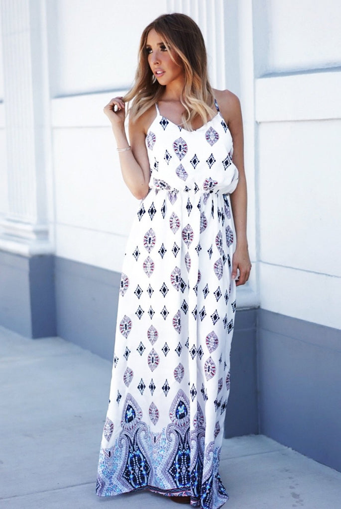 Lust Me Patterned Maxi - White