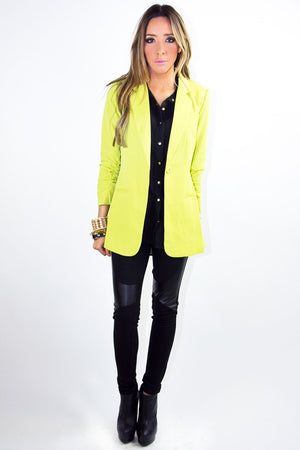 ELLIOT NEON BLAZER - Neon Yellow - Haute & Rebellious