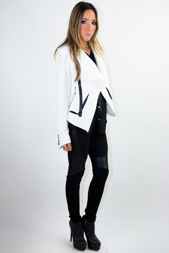 JACKET WITH BLACK TRIM - White