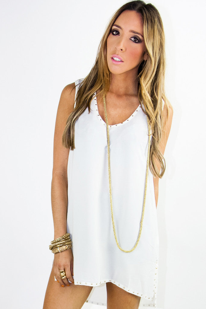 STUDDED TUNIC - Off White - Haute & Rebellious