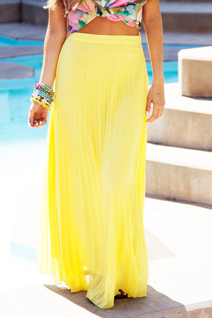PLEATED LONG SKIRT - Yellow