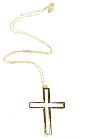 HOLLOW CROSS NECKLACE - Gold (Final Sale) - Haute & Rebellious