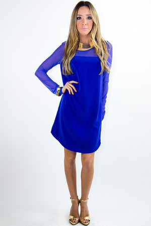 LONG SLEEVE MESH DRESS - Electric Blue - Haute & Rebellious